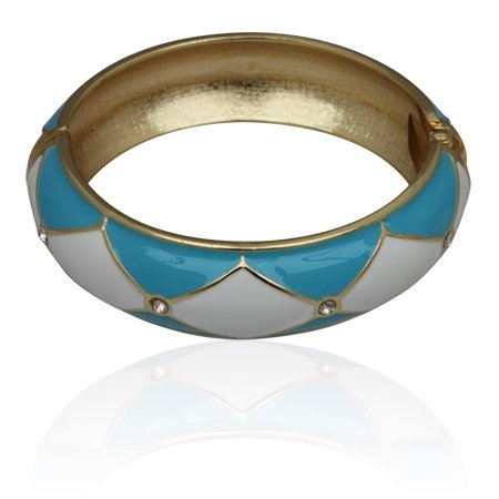 MizEllie Costume Jewellery Icy Blue Diagonal Pattern Gold Tone Bangle Bracelet , Can Make An Ideal Gift With Free Elegant Organza Jewellery Pouch