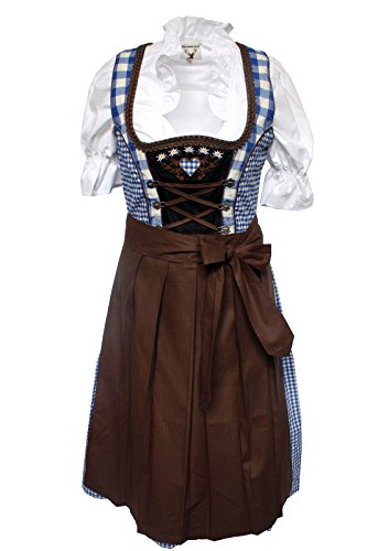 Alpenmärchen, 3tlg. Dirndl-Set - Trachtenkleid, Bluse, Schürze, Gr.60, blau-braun, ALM013 thumbnail