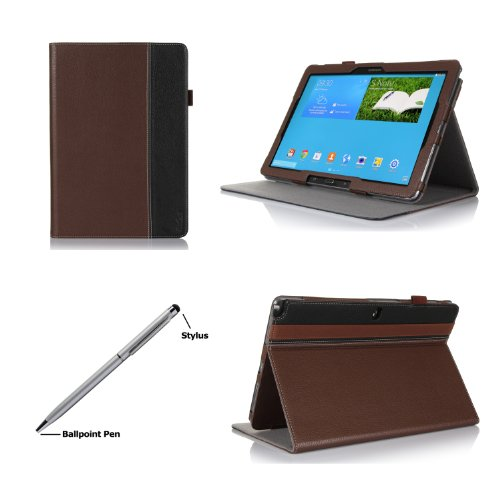 ProCase Premium Folio Case with Stand for Samsung Galaxy PRO 12.2 inch Tablet (Galaxy Tab PRO 12.2 and Note PRO 12.2), Built-in Stand with Multiple viewing Angles, bonus Stylus Pen included (Brown/Black) at Electronic-Readers.com