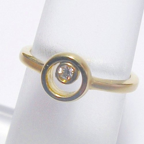14K Yellow Gold Diamond Solitaire Promise Ring - 0.05 Ct.