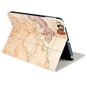 kwmobile® Housse en cuir synthétique chic pour Apple iPad Mini en avec fonction support pratique et Motif carte