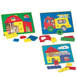 Picture of Sammons Preston See Inside Puzzles - Fire Truck - Model 564984 (B002BUI72A) (Pegged Puzzles)