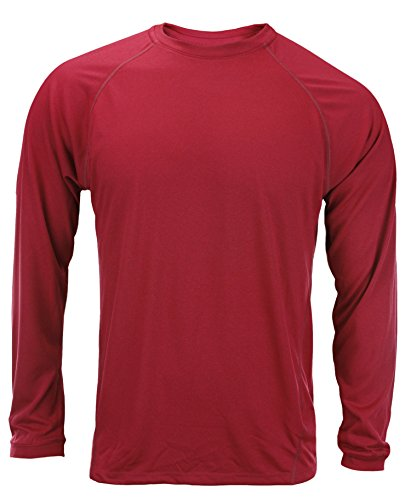 Adidas Men's Long Sleeve Climalite Shirt (X-Large, Cardinal Red)