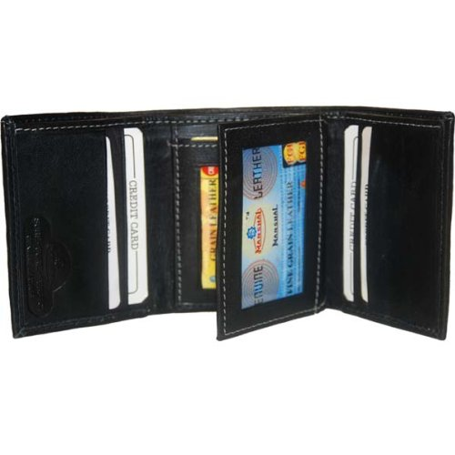100% Leather Tri-fold Mens Wallet Black #961107