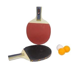 1 Pair Table Tennis Ping Pong Penhold Grip Racket Paddle w 3 Balls