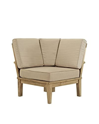 Modway Marina Outdoor Patio Teak Corner Sofa, Natural Tan