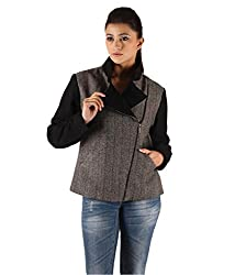 Owncraft Women's Woolen Bomber Jacket (Own_465_Grey_Small)
