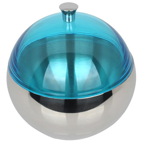 Ultra Modern Round 18/8 (Grade 304) Stainless Steel Ice Bucket/ Storage Container With Turquoise Blue Lid front-578388