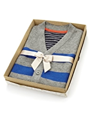 Autograph Pure Cashmere Striped Cardigan in Gift Box