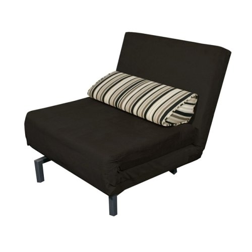 Ultra Lounger Single Black Convertible Chair Sofa Bed
