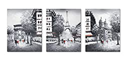 Muzagroo Art Eiffel Tower Oil Painting on Canvas Large Size Pictures 3 Panels L(Black and White)