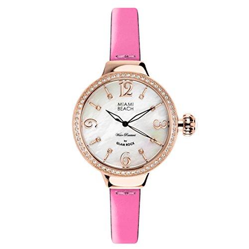 Glam Rock MBD27198A - Reloj para mujeres, correa de cuero color rosa
