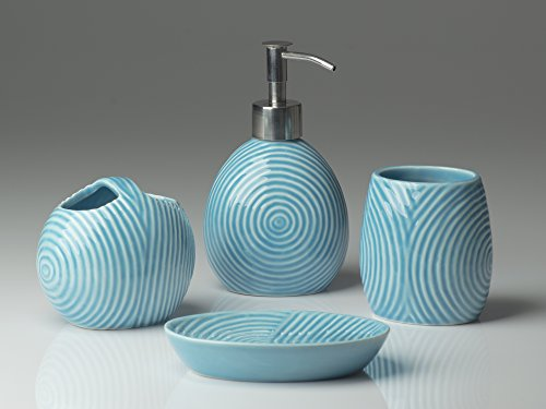 Designer 4-Piece Ceramic Bath Accessory Set by Comfify | Includes Liquid Soap or Lotion Dispenser w/ Premium Metal Pump, Toothbrush Holder, Tumbler, Soap Dish | Zen Garden | Aqua Blue