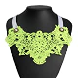 Pearl Hollow Lace Flower False Collar Necklace For Women (Yellow)