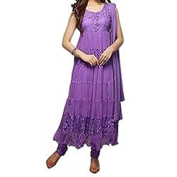 Starword Beautiful Heavy krazzy purple Semi stiched Dress Material High Qualitty