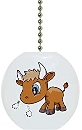 Carolina Hardware and Decor 1632F Baby Bull Big Eyes Farm Animal Ceramic Fan Pull
