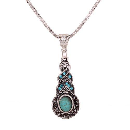 Yazilind Jewelry Tibetan Silver Warp Blue Crystal