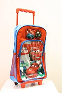 Ready Steady Bed Disney Cars Lightning Mcqueen & Francesco Kids Wheeled Bag, Box Style And Carry Handle Zipped by Ready Steady Bed