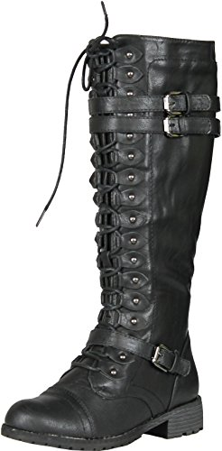 Wild Diva Timberly-65 Women's Fashion Lace Up Buckle Knee High Combat Boots, Color:BLACK, Size:8 (Knee High Shoes compare prices)
