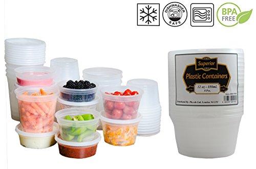 In plastica a prova a microonde, Freezer, contenitori per alimenti, con coperchio, ideale per cucinare piatti pronti per lotti, plastica, 12oz - 355ml