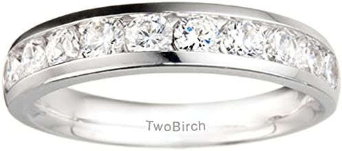 Silver Moissanite Classic Channel Set Wedding Anniversary Band with Charles Colvard Created Moissani