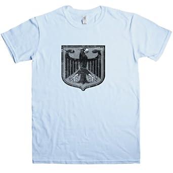 Mens Distressed German Eagle Vintage T Shirt - Light blue - Small