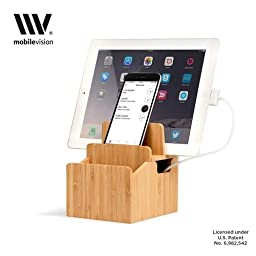 MobileVision Bamboo Charging Station Stand and Multi Device Organizer Charging Dock with Extension Compartment for Individual Desktop Storage Caddy / Tray Personal Space Saver capabilities for your Smartphones / Tablets like Apple iPhone/iPad, Samsung Gal
