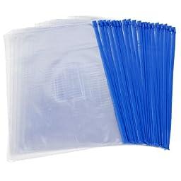 uxcell Blue Clear Size A4 Paper Slider Zip Closure Folders PVC Files Bags 20PCS