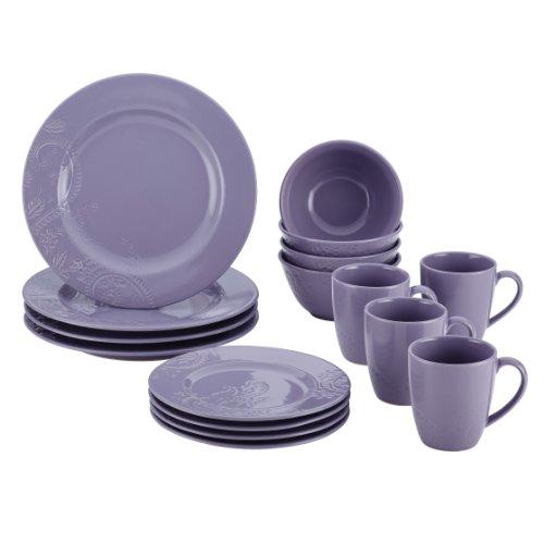 BonJour Paisley Vine 16-Piece Stoneware Dinnerware Set, Lavender