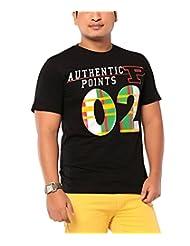 Ebry Men's Round Neck Cotton T-Shirt (Black) - B00OXSXY7Q
