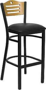 Flash Furniture XU-DG-6H3B-SLAT-BAR-BLKV-GG Hercules Series Slat Back Metal Restaurant Bar Stool, Black Vinyl Seat
