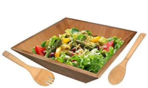 Home Basics Bamboo Salad Bowl with Serving Utensils by Home Basics