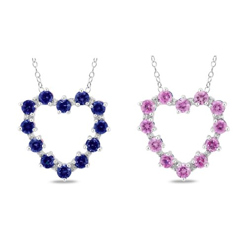 Sterling Silver 2 1/3 CT TGW Created Pink Sapphire and Sapphire 0.012 CT TDW Heart Pendant (I3)