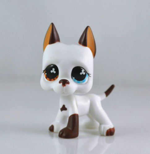 good luck store LPS Littlest Pet Shop White & Brown Great Dane DOG Puppy Blue Eye TOY