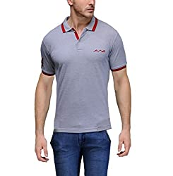 AWG Men's Premium Cotton Polo T-shirt with Embroidery - Grey - FBAAWGTS11xxxl