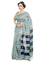 B3Fashion Traditional Handloom Super Soft Silk Blend Saree In Grey With Thin Golden Running Border With Running...