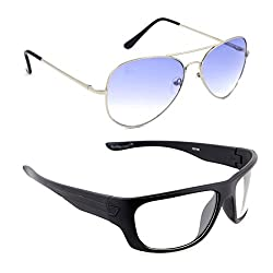 Elligator Stylish Aviator Silver Blue And White Nightvision Sunglasses Combo ( Set of 2 )
