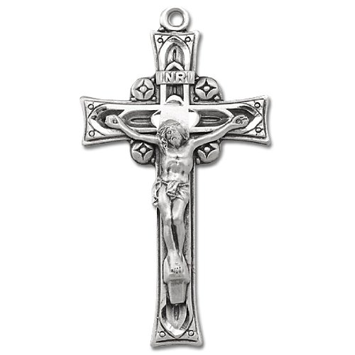 Sterling Silver Medal Rosary Crucifix with 24