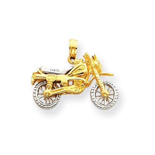 14k Gold Two-tone 3-D Dirt Bike Pendant