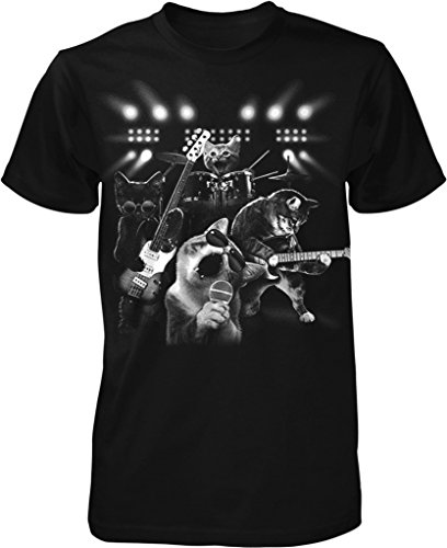 Cat Rock Band, Cats Playing Guitar and Drums Men's T-shirt, NOFO Clothing Co. S Black