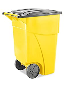 Rubbermaid Trash Can with Wheels, 50 Gallon - Yellow