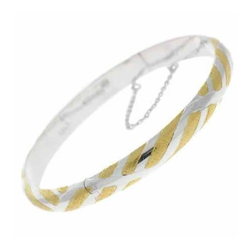 Vermeil (24k Gold over Sterling Silver) and Sterling Silver Stripe Bangle