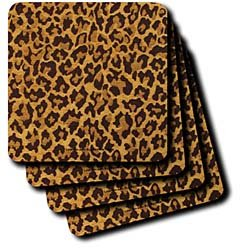 Lee Hiller Designs RAB Rockabilly - Leopard Print Gold and Brown - Coasters