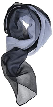 LibbySue-Silk Blend Ombre Oblong Chiffon Scarf in Black, Grays