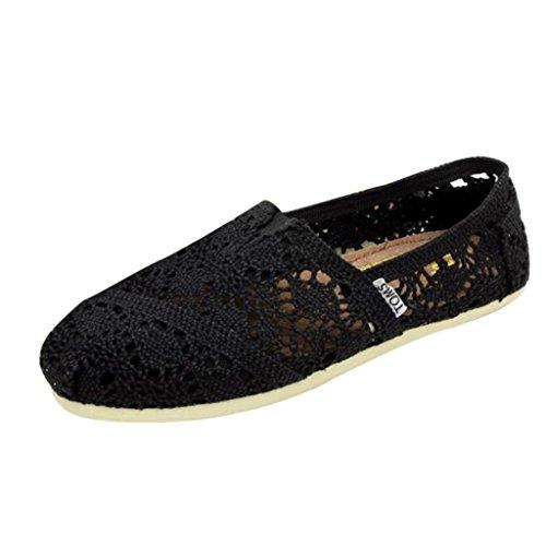 Minetom Donne Scarpe Basse Pizzo Ballerine Fiore Stampato Slip On Pompe Comode Scarpe Casual Scarpe da Guida ( Nero EU 40 )