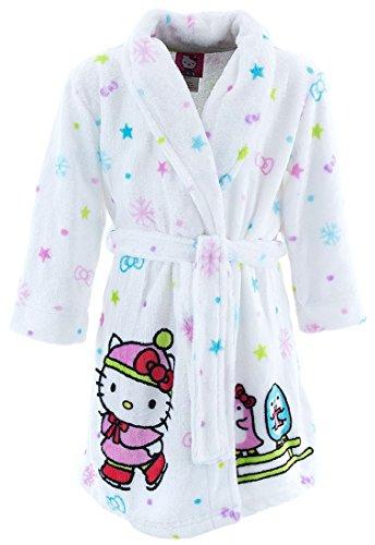 Hello Kitty Big Girls' Velvet Fleece Robe, White, Large