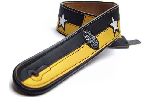 Gaucho Black/Yellow 'Two Tone Series' Faux Leather Guitar Strap For Electric/Acoustic/Bass Guitar