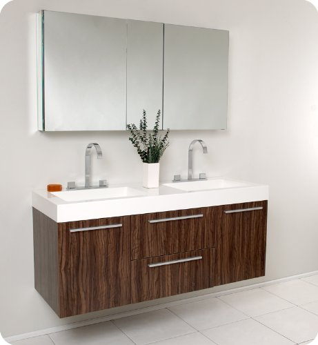 Opulento Walnut Modern Double Sink Bathroom Vanity Set