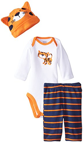 Gerber Baby-Boys Newborn 3 Piece Bodysuit Cap and Pant Set, Tiger, 6-9 Months
