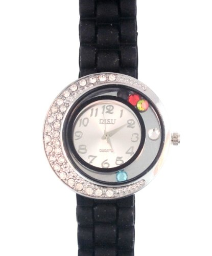Black Silicone Rubber Gel Watch Large Face Moving Colored Crystals With Half Crystal Bezel. Band Link Look Ceramic Style